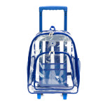 "LM214<br>Wheeled Deluxe 17"" See-through clear 0.5mm PVC backpack"